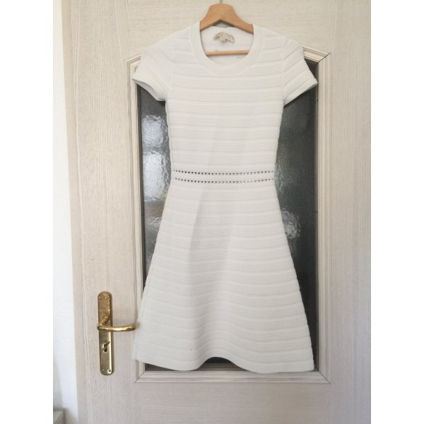 Michael Kors Shirt-Kleid Stretch weiß gerippt