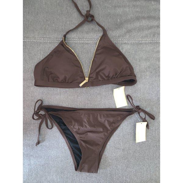 Michael Kors Triangel Bikini Braun Gold Milk Chocolate Gr. L