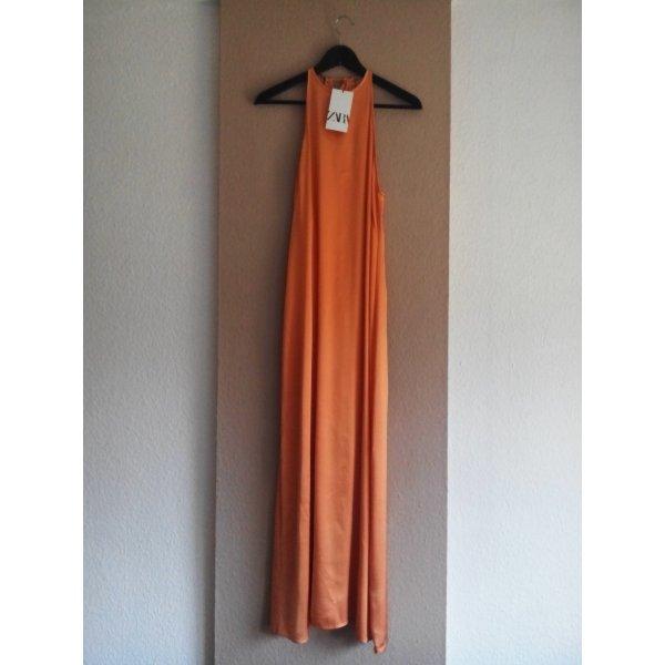 Midi Neckholderkleid in hellorange aus 100% Viskose, Größe 38, neu