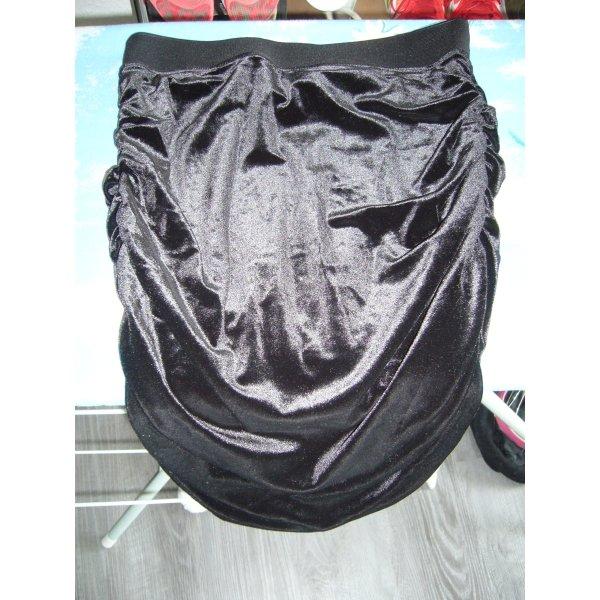 Midirock schwarz Samt schwarzer Bund H&M XS 34