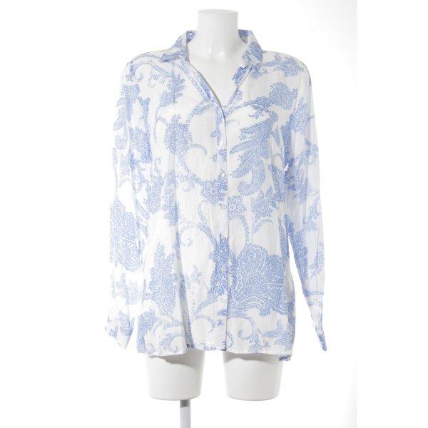 Milano Hemd-Bluse kornblumenblau-weiß Paisleymuster klassischer Stil