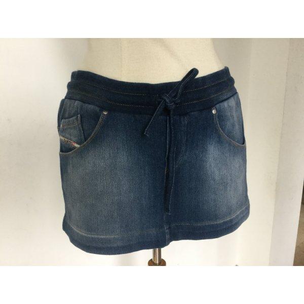 Mini Jeans Optik Rock mit Gummizug zum schnüren