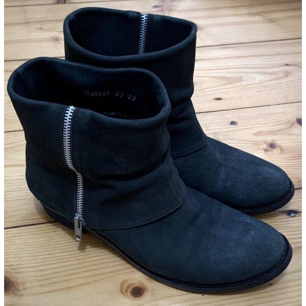 minimalistische schwarze Nubuk Leder Stiefeletten von Friis & Company Gr. 37