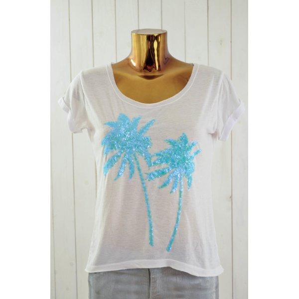MISS GOODLIFE Damen T-Shirt Weiß Türkis Palmen Pailletten Rundhals Kurzarm Gr.S
