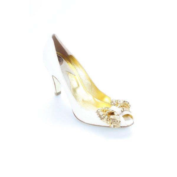Miss Sixty Peeptoe Pumps hellbeige-goldfarben Metallelemente