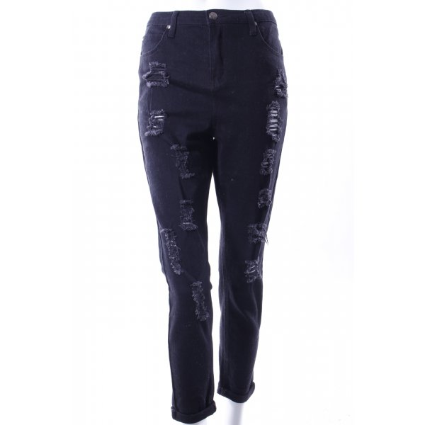 Missguided Jeans Usedlook schwarz