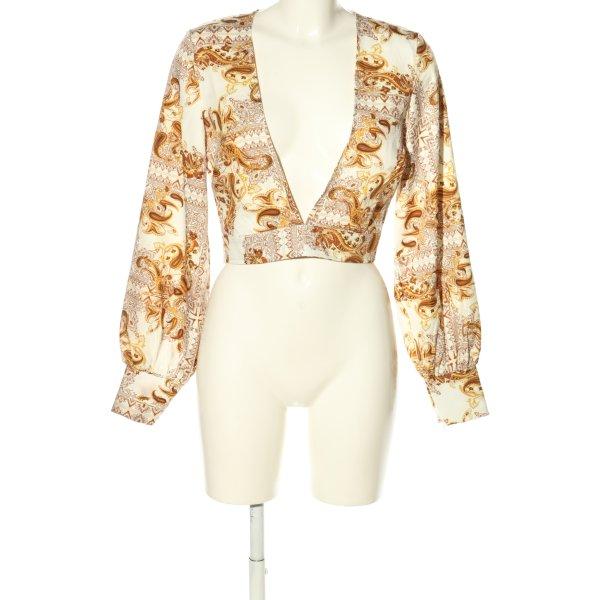Missguided Langarm-Bluse weiß-hellorange abstraktes Muster Elegant