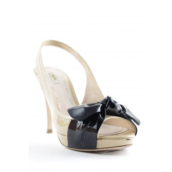 Miu Miu Peeptoe Pumps creme-schwarz Elegant