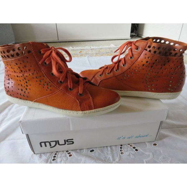 Mjus Lace-Up Sneaker dark orange-neon orange leather