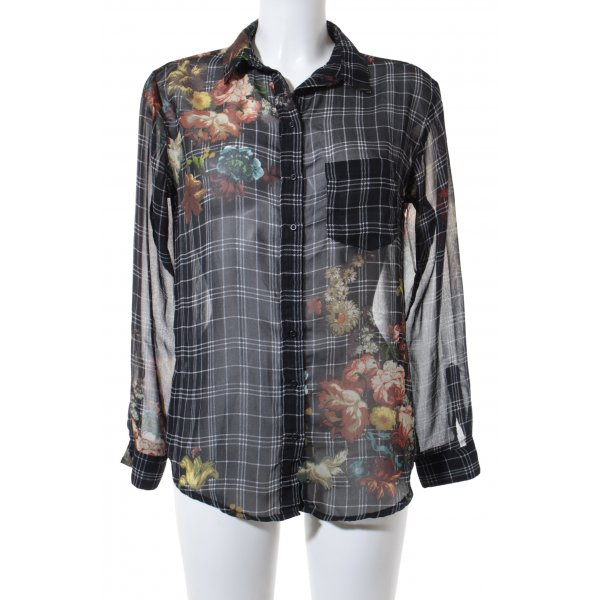 MNG Collection Langarm-Bluse Blumenmuster Casual-Look