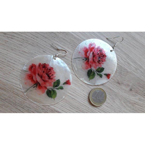 Modeschmuck große Ohrringe Muschel Rosen