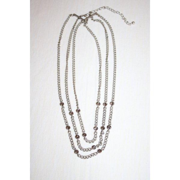 Modeschmuck Halskette mit silber/grauen Steinen