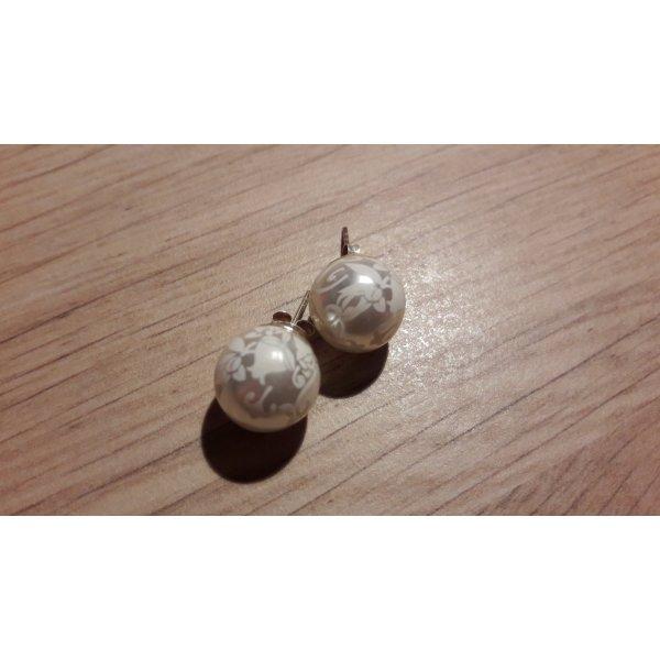 Modeschmuck Ohrringe Stecker Imitat-Perlen mit Musterdruck
