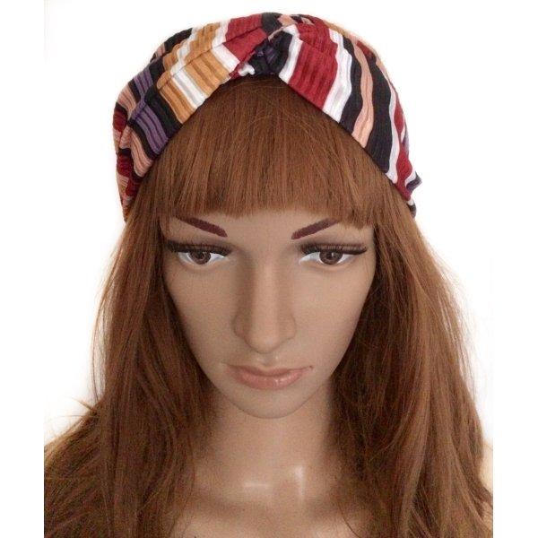 Modisches, gestreiftes Haarband mit Knoten