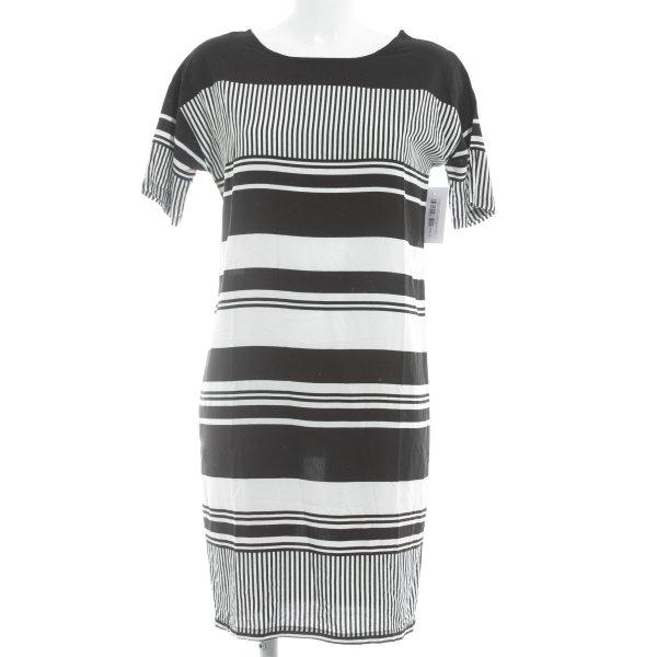 Modström Hooded Dress black-white striped pattern simple style