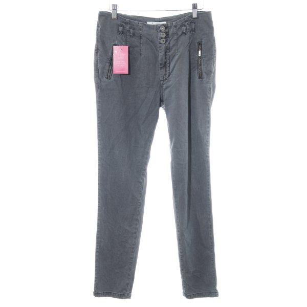Monari Stretch Jeans dunkelgrau Metallknöpfe