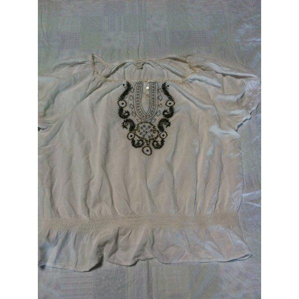 Monsoon Carmenbluse Bluse Gr. 50, mit Stickereien, creme, wie NEU