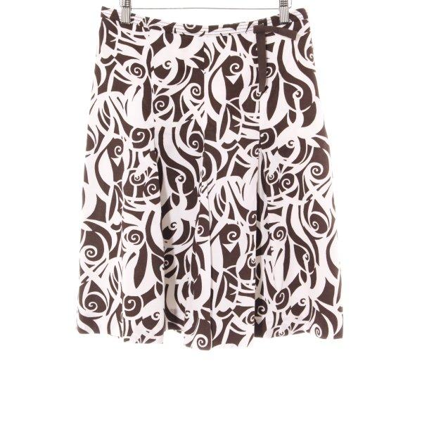 More & More Jupe évasée brun foncé-blanc motif abstrait style romantique