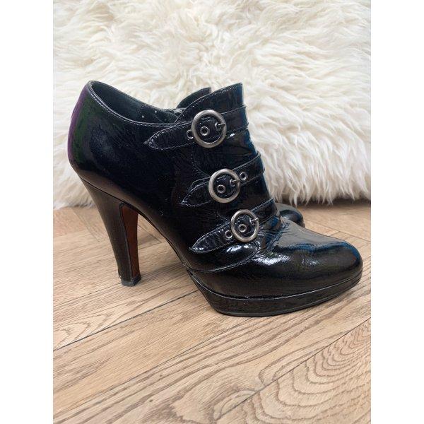 Moschino Designer High-heels Booties in schwarz, Lackleder
