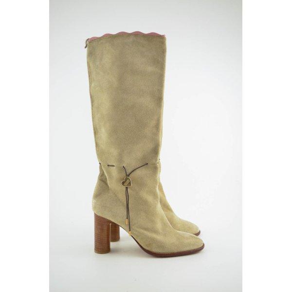 MOSCHINO Stiefel Boots Beige Wildleder Absatz 7,5cm Verloursleder Gr.37