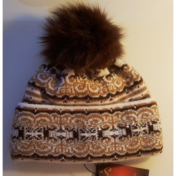 Mütze, Pudelmütze mit Echtpelz, Braun-Weiß mit Strass-Applikation, Angora/Wolle