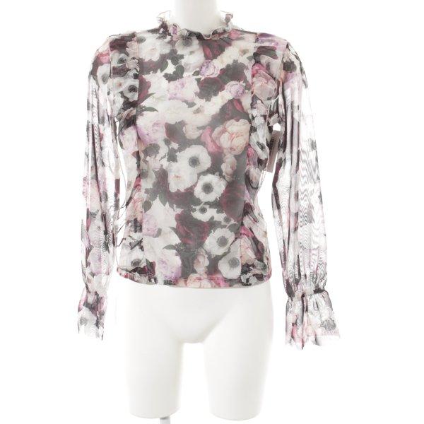 NA-KD Langarm-Bluse florales Muster Romantik-Look
