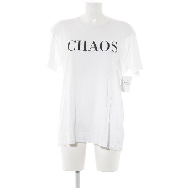 Neil Barrett T-Shirt weiß-schwarz Schriftzug gedruckt Casual-Look