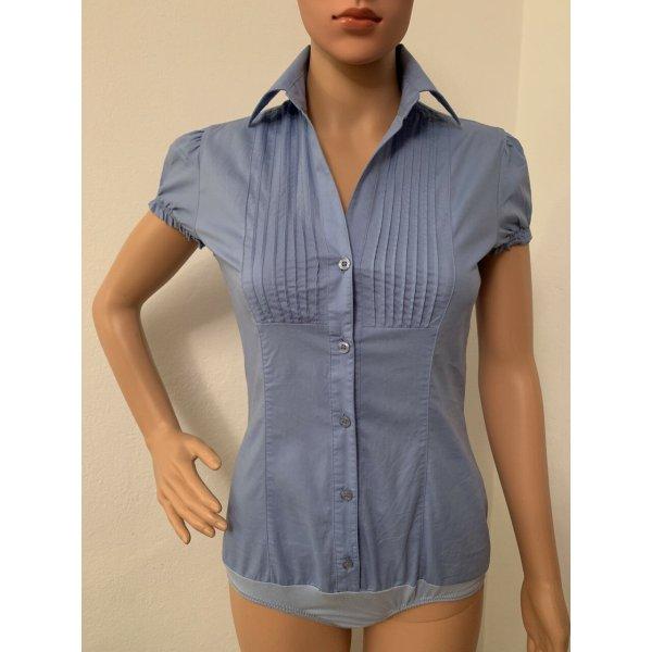 Neu 124€ Sommer Hemd Hemdbody Body Shirt Slim Fit XS S 34 36 elegante Bluse Baumwolle Stretch Office