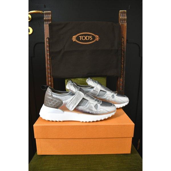 NEU 498€ TOD'S Sneakers Turnschuhe Klettverschluss Schuhe 39,5 39 1/2 Silber