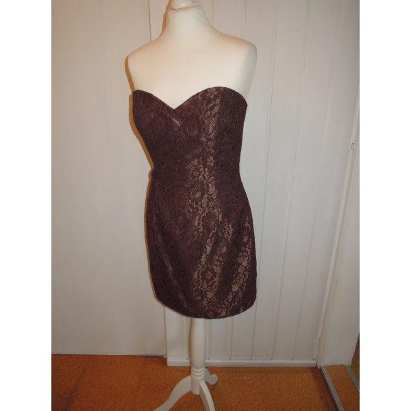 NEU Abendkleid Kleid Cocktailkleid Spitze braun Korsage Magic Nights Gr. 40 42