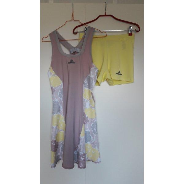NEU Adidas Stella McCartney Caroline Wozniacki Tennis Sport Kleid mit Panty rosa gelb weiß grau geblümt Gr. 38