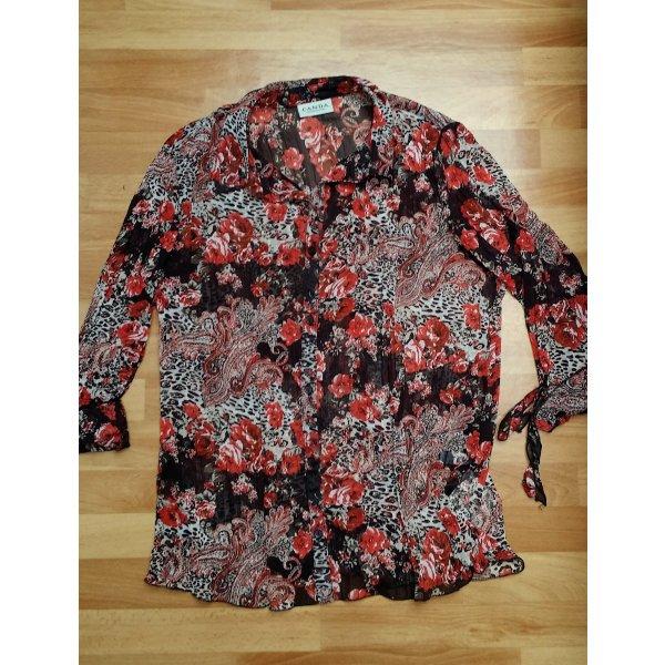 NEU Damen Knopfbluse/ Bluse in dunkelbraun-rot/orange/ Gr. 42/ Canda