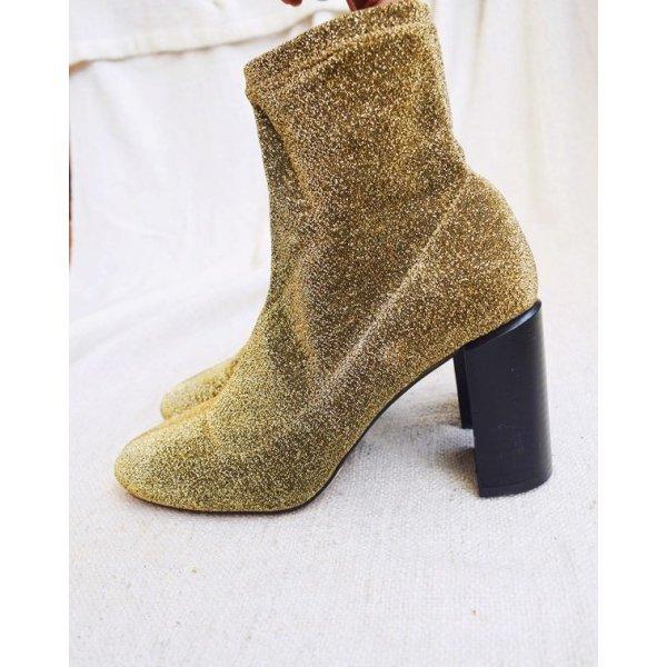 Neu! Gold Glitzer Ankle Boots mit Blockabsatz
