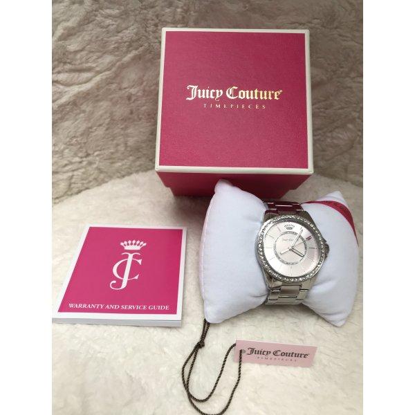 NEU Juicy Couture Damen Armbanduhr silber rosa pink Strass