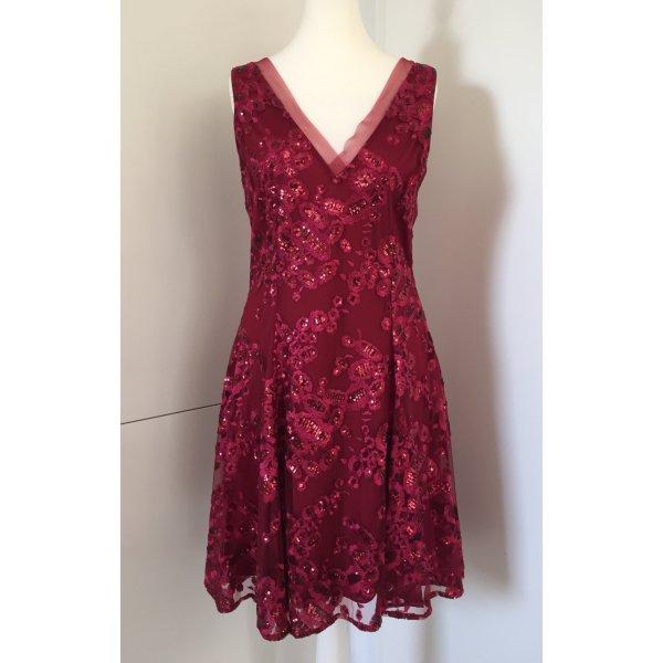 Badgley Mischka Robe de cocktail rouge carmin-rouge foncé tissu mixte