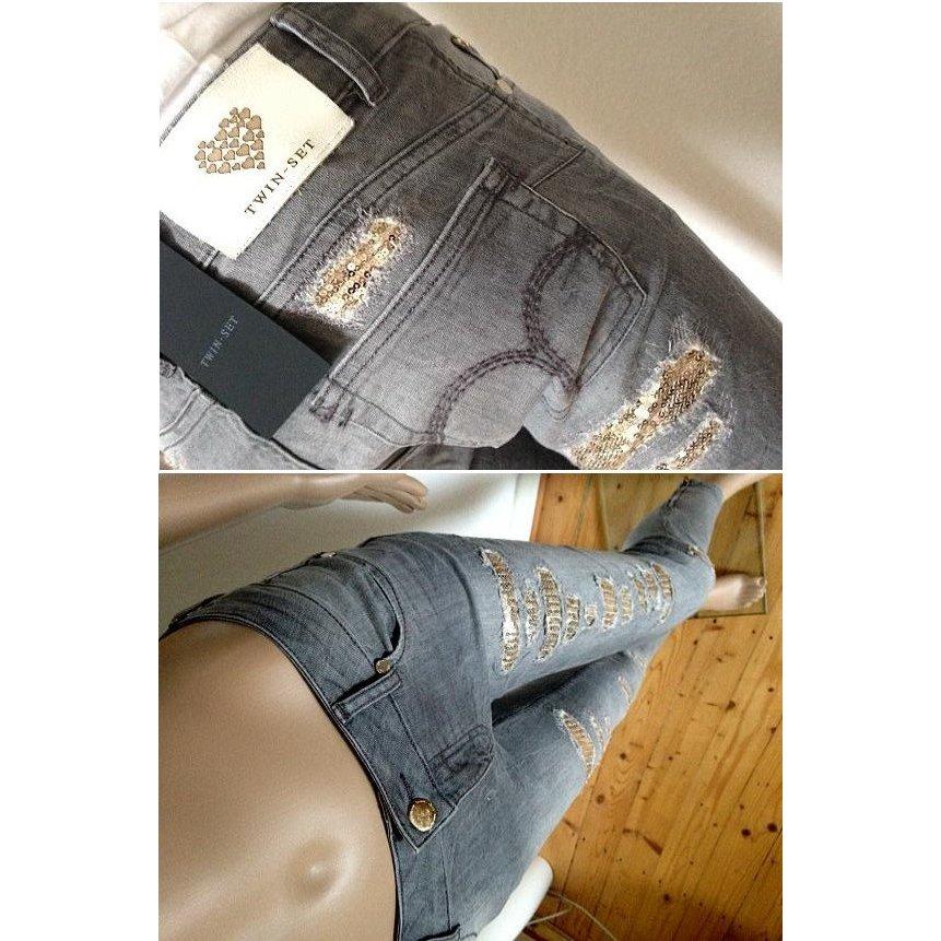 NEU! NP269€ TWIN-SET Barbieri Skinny Jeans Röhrenjeans Slim S 25 26 grau