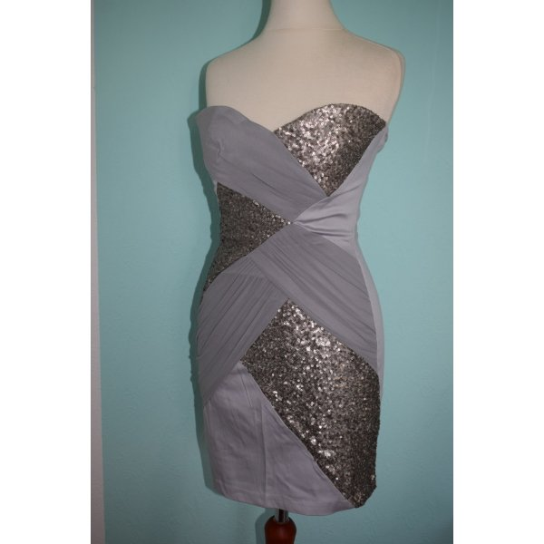 NEU silber Bandeau Party Kleid Gr. 34 Elise Ryan Pailletten
