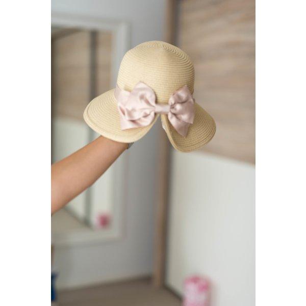 Cappello parasole rosa chiaro-crema
