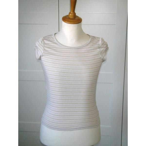 NEU, T-Shirt, Shirt, kurzarm, Streifenshirt, nude, gold, Laura Scott, Gr. 34