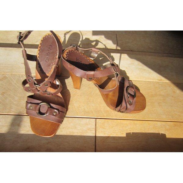 NEU: VIA UNO Leichte Holz High Heel Sandalette in leckerem schoko braun; Gr.36