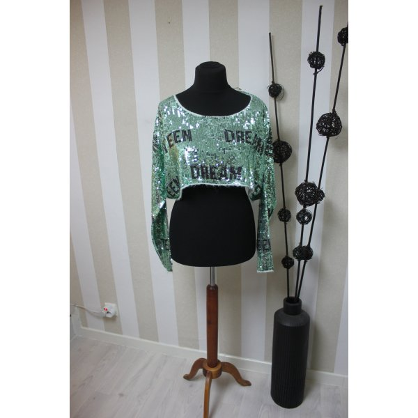 NEU Wildfox Teen Dream Crop Pullover Sweatshirt mit Pailletten Größe S