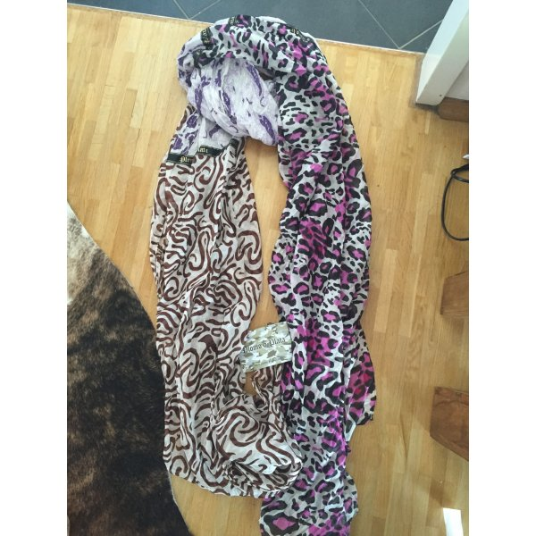 Plomo o plata Silk Scarf white-purple silk