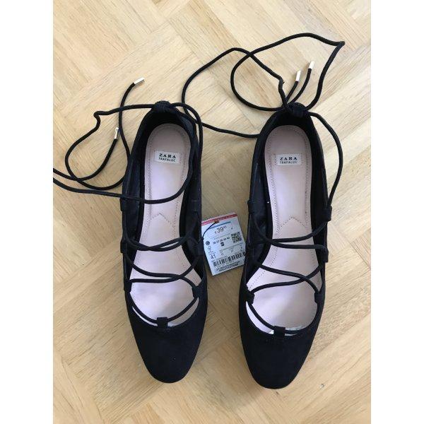 Neu! Zara Ballerinas zum Schnüren schwarz, Größe 41 / 40