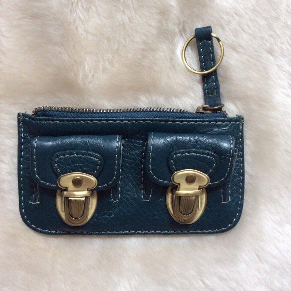 NEUER Mini-Geldbeutel,  Leder, petrol-blau