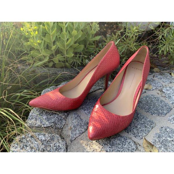 Neuw. AERIN Pumps High Heels Leder Korallenrot Pink Gr. 39 / 9,5