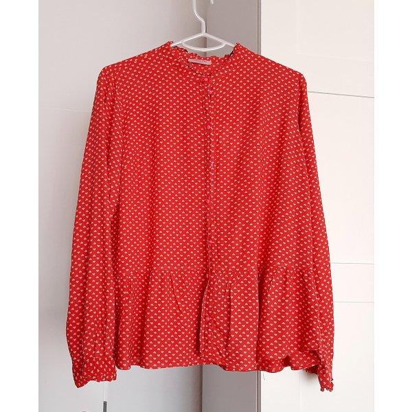 Neuwertige süße Bluse von CONLEYS in rot, Gr. 36