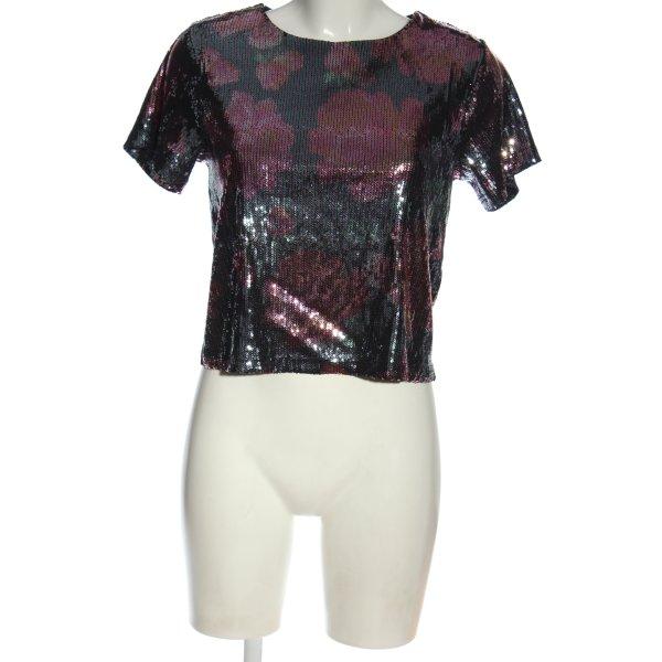 New Look Kurzarm-Bluse schwarz-rot Blumenmuster Elegant