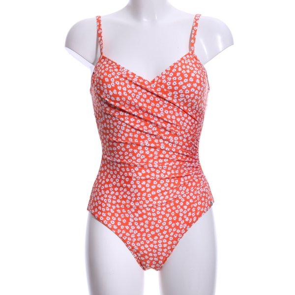 Next Badeanzug neonorange-weiß florales Muster Casual-Look
