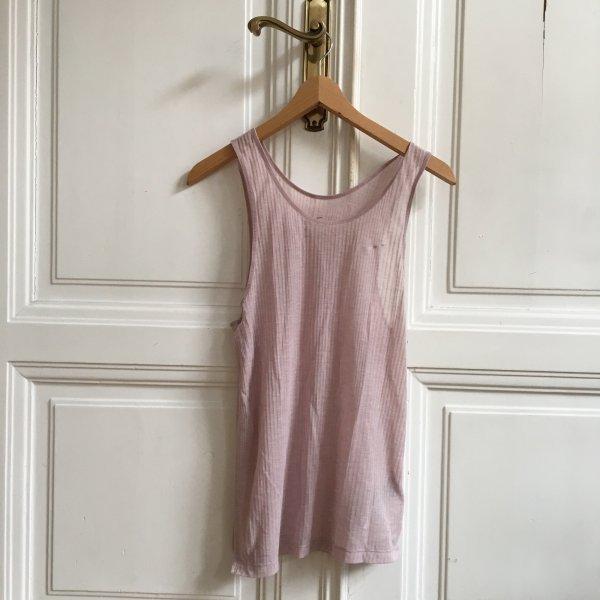 Nike Dri-Fit Top Shirt gerippt ripped transparent XS rosa rosé rose nude