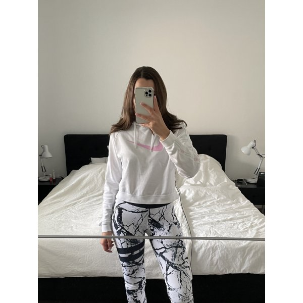 Nike Hoodie Pullover cropped weiß rosa Gr. S